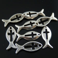 21*9mm Weinlese Silber Legierung Fisch Kreuz Charme Anhänger Schmuck Kunst 50Stk