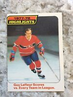 Opc NHL HOCKEY 1978-79 GUY LAFLEUR HIGHLIGHTS CARD # 3 MONTREAL CANADIENS