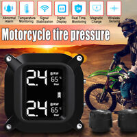 Waterproof Cordless TPMS Motorcycle Tire Pressure Monitoring System 2 Sensor USA