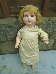 "PRETTY ANTIQUE/VINTAGE BISQUE HEAD DOLL MARKED DOLLIES 4 BRITISH-22"" LONG"