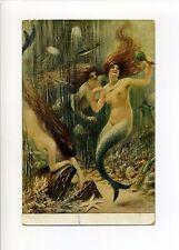 A/S Albert Guillaume antique postcard, nude, fantasy mermaids, treasure chest