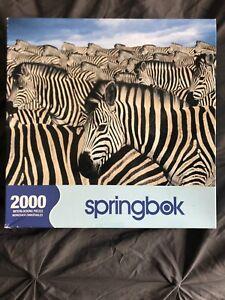 """Springbok 2000 Piece """"Zebra Herd"""" Jigsaw Puzzle Interlocking Pieces Hard New"""