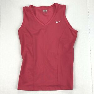 NIKE Fit Dry Pink Stretch Fitted Sleeveless Running Fitness Tank Womens Sz S 4 6
