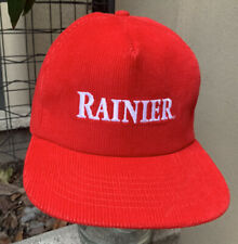 Vintage Rainier Beer Red Corduroy 80's Snapback Sign Hat