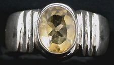 Citrine Gem Stone Gemstone Sterling Ring Size 8 PSR249