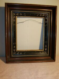 Antique Victorian Walnut Ebonized Wood Deep Well Picture Frame