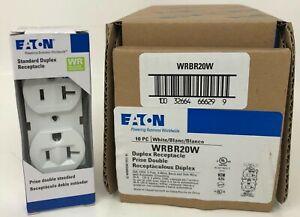 NEW Box of 10 Eaton WRBR20W Duplex Receptacle 20 amp 120V