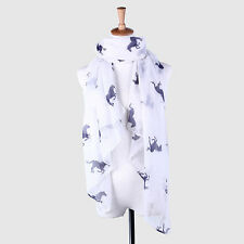 Gift Voile Fashion Running Horse Wrap Stole Scarf Print Animal Shawl