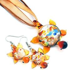 Silver Brown Turtle Handmade Lampwork Glass Murano Pendant Necklace Earrings Set