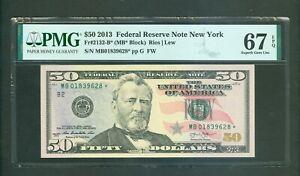FR#2132-B* 2013 $50 SCARCE NEW YORK STAR NOTE AWESOME BEAUTY PMG GEM 67 EPQ!!!