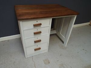 Antique Solid Oak Shabby Chic Painted Desk