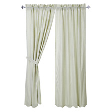 French Country Shabby Chic Curtains Sage Green White Scalloped 2x101.6x213cmL