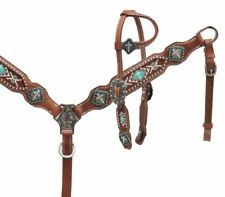Showman Pony Size Teal Beaded Cross Leather Bridle Breast Collar & Reins Set