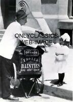 1910 ICE CREAM CART SELLS TO CUTE LITTLE GIRL PHOTO FROZEN DAINTIES AMERICANA