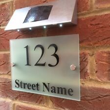 SOLAR POWERED DOOR NUMBER SIGN, MODERN FROSTED ACRYLIC SOLAR HOUSE SIGN