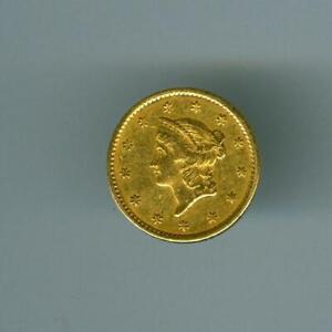 U.S.1851 $1 LIBERTY HEAD GOLD XF CLEANED