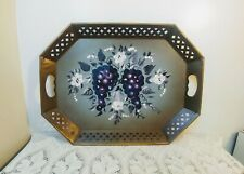 New listing Large Vtg Hand Painted Nashco Tray Green/Purple Reticulated Fruit, Floral Motif