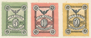 ZD1933 NORWAY Lierbanen 3 Railway Parcel stamps 5 10 & 50 ore