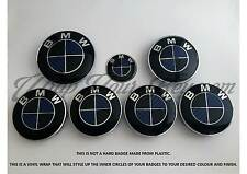 BLACK & DARK BLUE CARBON Badge Overlay FOR BMW  HOOD TRUNK RIMS @FITS ALL BMW@