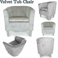Silver Crushed Velvet Fabric Tub Chair Armchair Home Cafe Lounge Room Sofa Seat