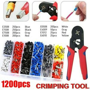 1200 0.25-10mm² Bootlace Crimper Ferrule Crimping Cord End Wire Ratchet Tool Kit