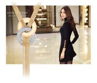 Women Elegant Multiple Chain Long Tassel Fringe Crystal Pendant Necklace Jewelry