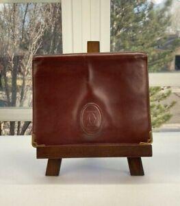 Cartier Womens Bordeaux Leather Vintage Clutch with Wrist Strap