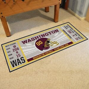 "Washington Redskins 30"" X 72"" Ticket Runner Area Rug Floor Mat NFL FANMATS"