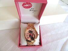 Genuine Betsey Johnson Boyfriend Black Cat Rose Gold Glitter Watch NIB