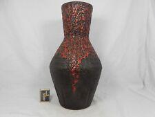 """Beautiful 70´s JOPEKO Keramik Vase red & black  """" Fat Lava """" glaze  398 - 36"""
