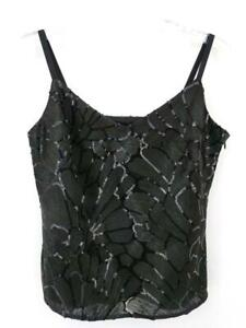 White House Black Market Embroidered Sequin Camisole Cami Black Sz Small NWT