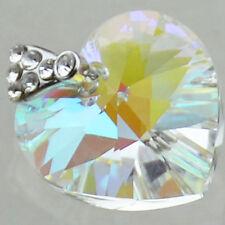 16 Colors! Silver Plate - Heart Pendant with SWAROVSKI Stones