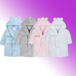 Personalised Baby Girl Boy Dressing Gown Robe Embroidered Name Bear Ears