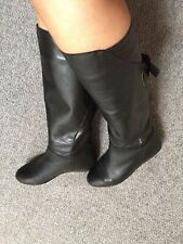 russell & bromley Soft Black Leather Low Wedge Heel Knee High Slip On Boots 5