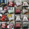 Christmas Festive Reversible Polycotton Duvet Quilt Cover Set with Pillow Cases