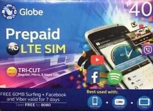 Globe Prepiad Roaming SIM Card Triple-cut SIM Fits in regular, micro.