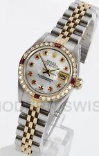 Rolex Ladies Datejust Gold & Steel MOP Ruby Diamond Dial & Bezel Jubilee 2 Tone