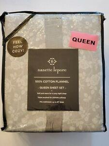 NEW Nanette Lepore QUEEN Sheet Set 100% Cotton Flannel Gray Floral Flowers