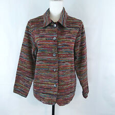 Coldwater Creek Blazer Jacket Petite Large Button Up Multicolor Line Stripe