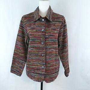 Coldwater Creek Blazer Jacket Petite Large Button Up Multicolor Line Stripe