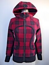LULULEMON Camp Check Red Scuba Hoodie Jacket size 4