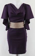 NWT Ark & Co Plum Cowl Neck Butterfly Sleeve Belted Shift Dress Size Small