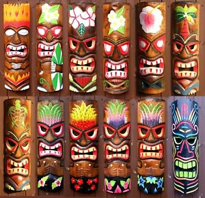 Tiki Bar Mask Sign 50cm Decoration Wall Hanging Mask Accessories Wood Carving