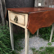 Antique Mahogany Grey Painted Side Table Breakfast Table Folding Sides 1 Drawer