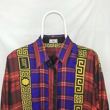 30572b74 Gianni Versace 90's Versatile Baroque Plaid 100% Silk Shirt (L)