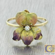 1910s Antique Art Nouveau 14k Gold Diamond Purple Yellow Enamel Flower Ring