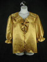 Plus Size Blouse 2X 3X Gold Silver Ruffled Front 3/4 Sleeves SQUARE UP FASHIONS