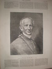 The new pontiff Pope Leo XII 1878 old print and article