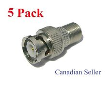 Lot of 5 Pack Coaxial F Type Female Jack to BNC Male Connector Adapter