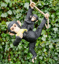 Monkey And Baby Garden Ornament Jungle Animal Ape Hanging Rope Outdoor Sculpture